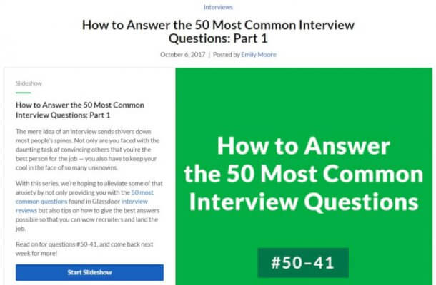 How to Answer the 50 Most Common Interview Questions - Parts One through Three
